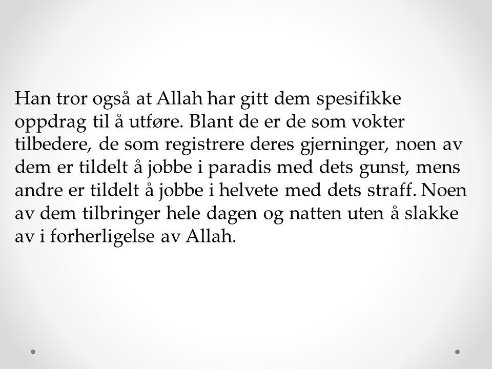 Han tror også at Allah har gitt dem spesifikke oppdrag til å utføre