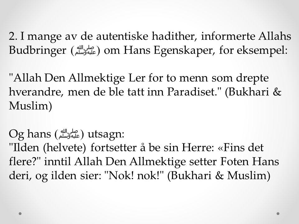 2. I mange av de autentiske hadither, informerte Allahs Budbringer (ﷺ) om Hans Egenskaper, for eksempel: