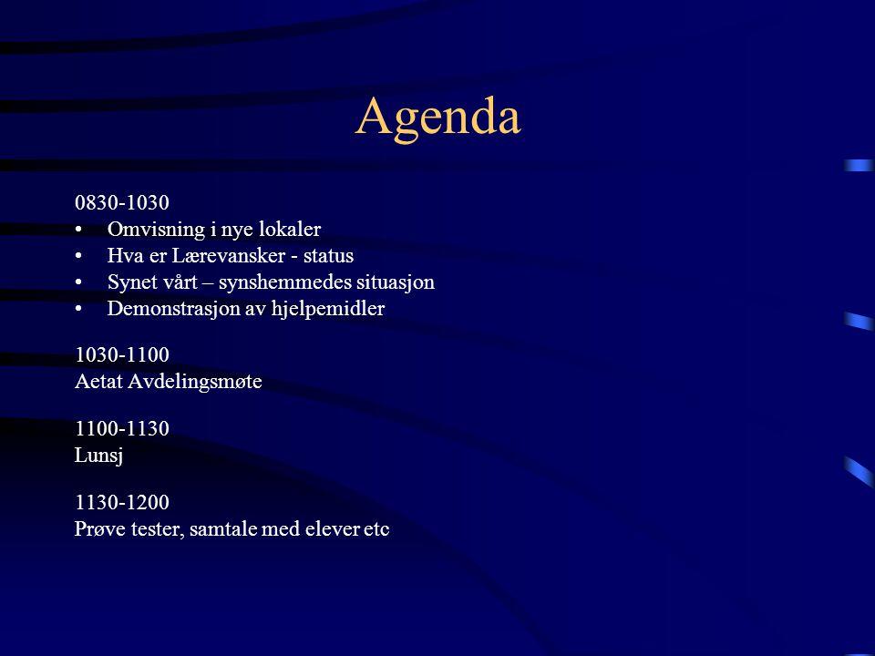 Agenda 0830-1030 Omvisning i nye lokaler Hva er Lærevansker - status
