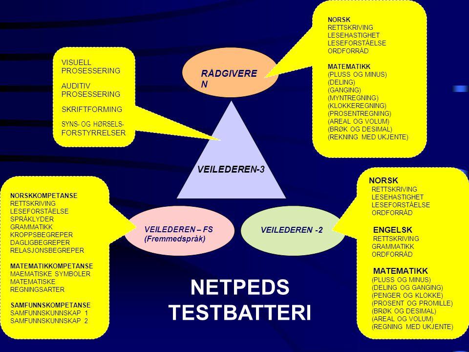 NETPEDS TESTBATTERI RÅDGIVEREN VEILEDEREN-3 NORSK ENGELSK