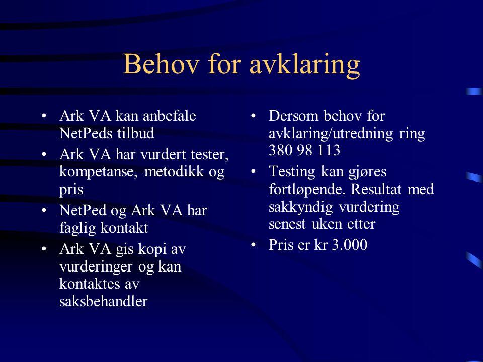 Behov for avklaring Ark VA kan anbefale NetPeds tilbud