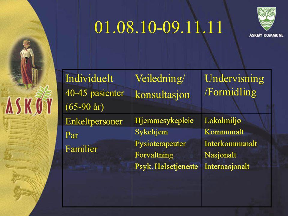 01.08.10-09.11.11 Individuelt Veiledning/ konsultasjon