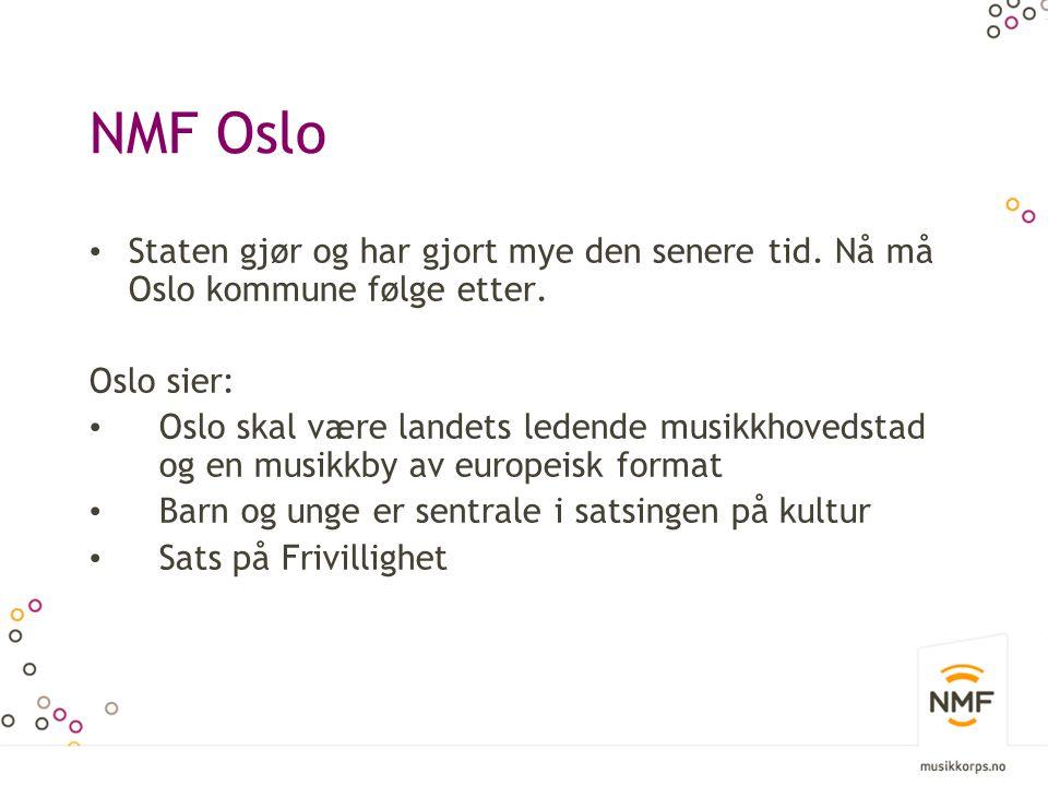 NMF Oslo Staten gjør og har gjort mye den senere tid. Nå må Oslo kommune følge etter. Oslo sier: