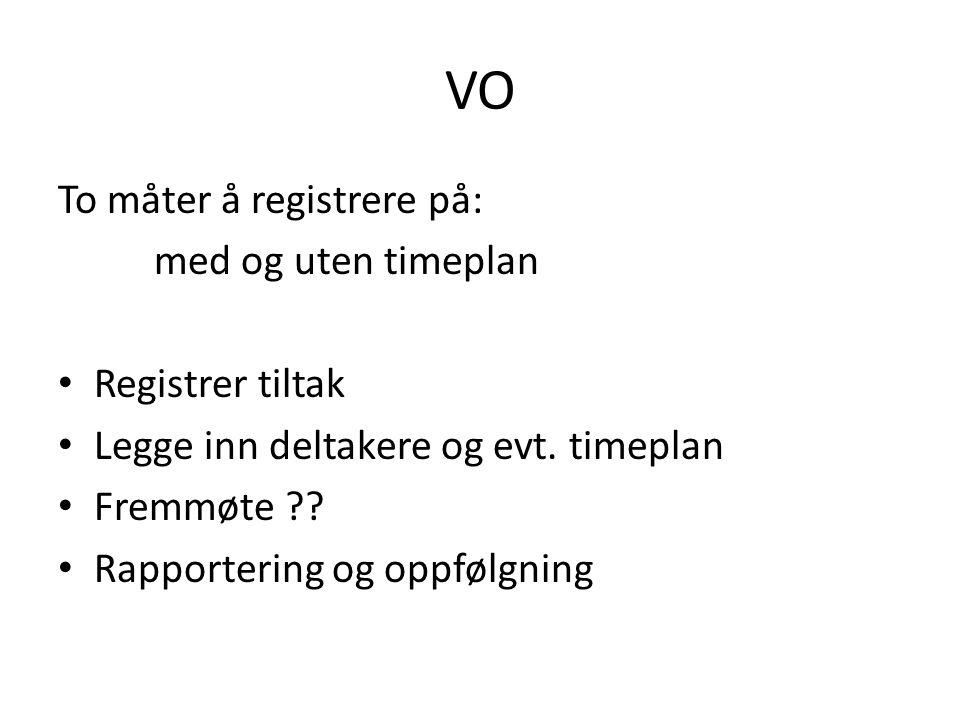 VO To måter å registrere på: med og uten timeplan Registrer tiltak