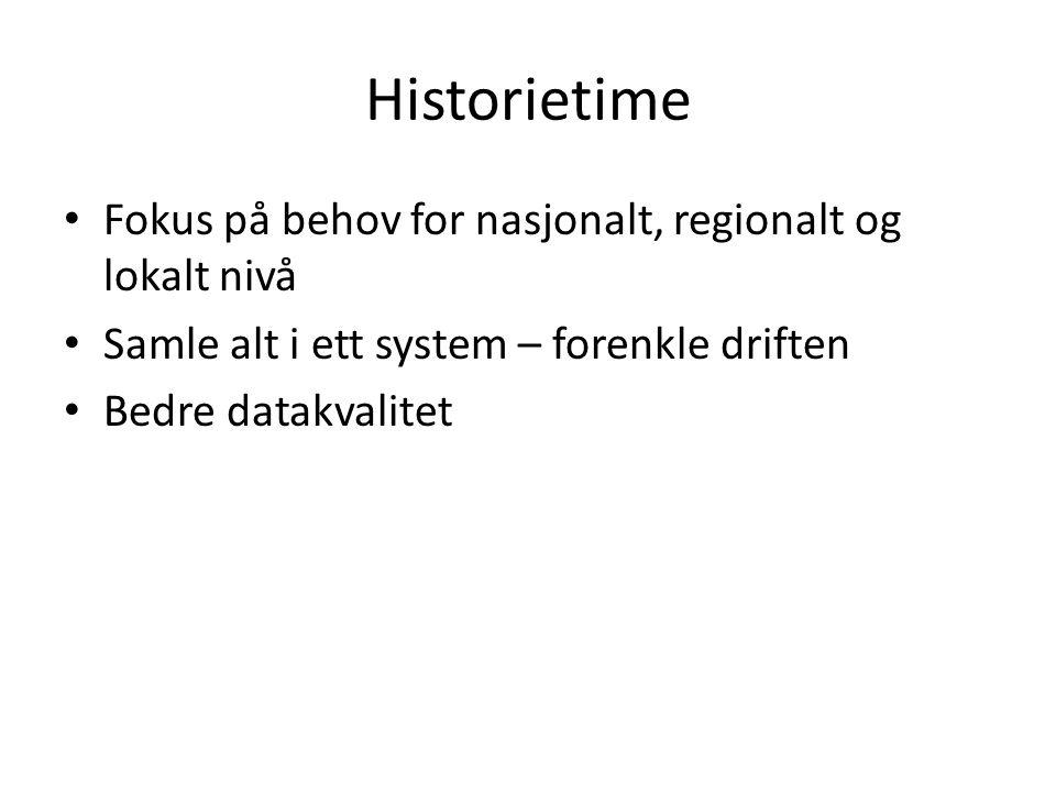 Historietime Fokus på behov for nasjonalt, regionalt og lokalt nivå