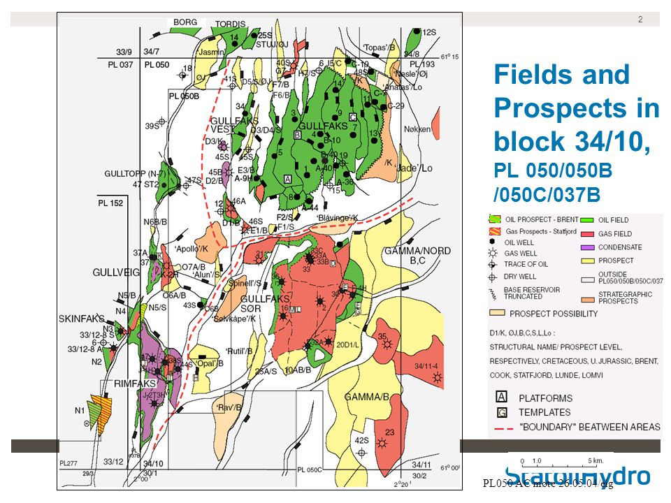 Fields and Prospects in block 34/10, PL 050/050B /050C/037B