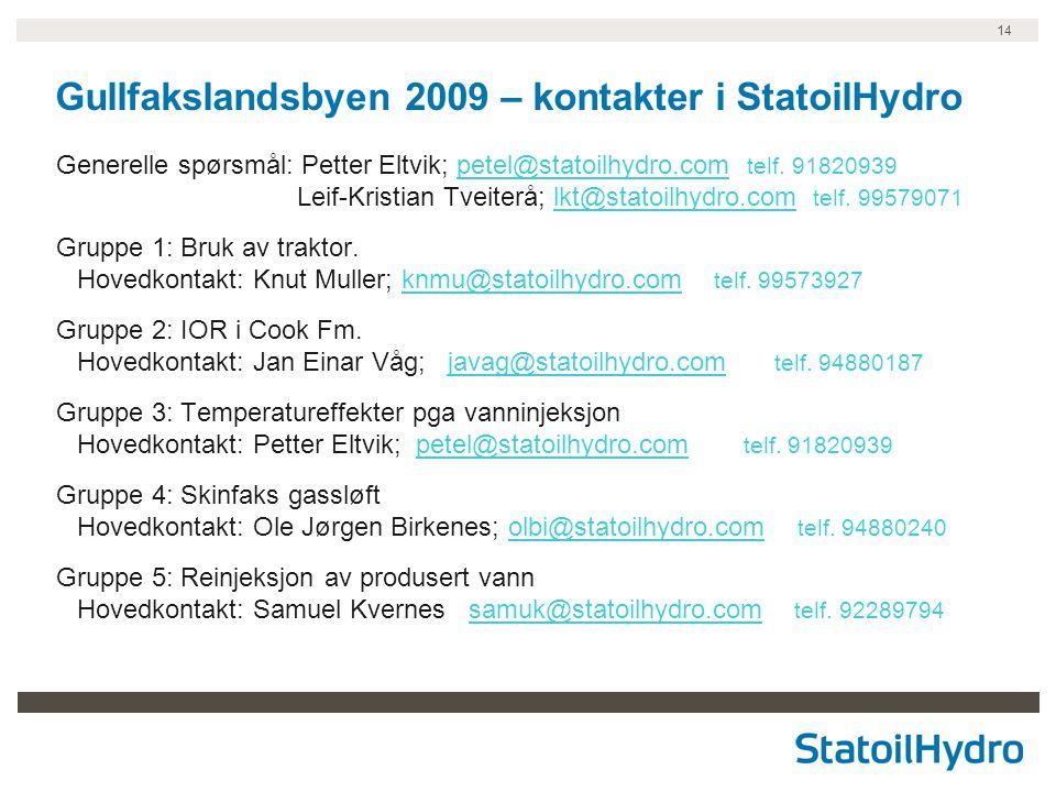 Gullfakslandsbyen 2009 – kontakter i StatoilHydro
