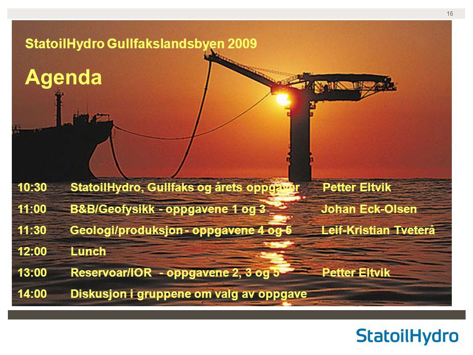 Agenda StatoilHydro Gullfakslandsbyen 2009