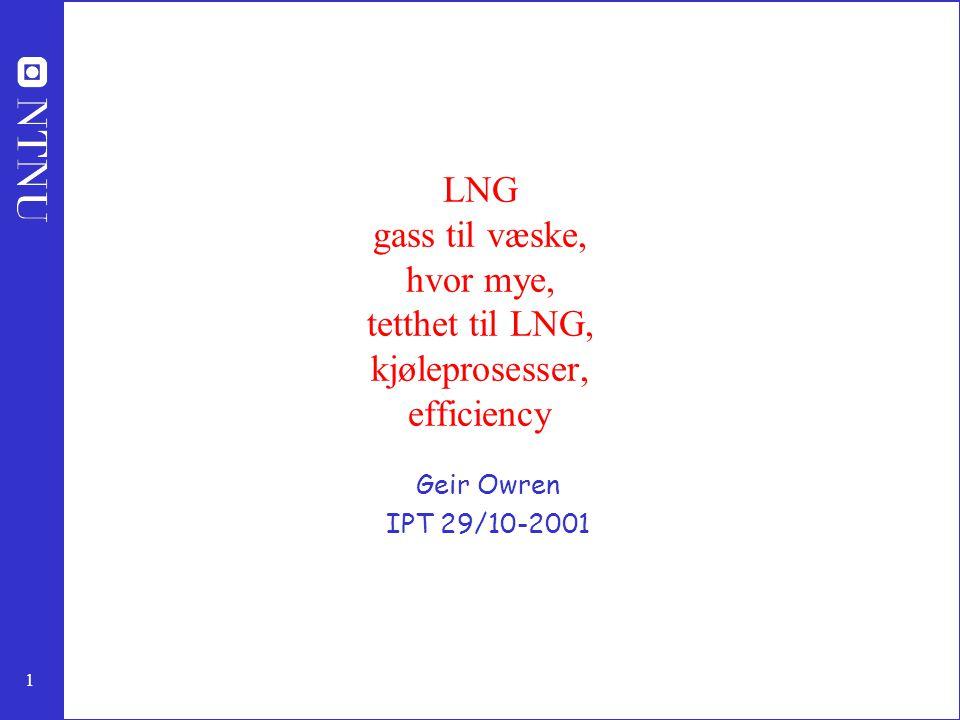 LNG gass til væske, hvor mye, tetthet til LNG, kjøleprosesser, efficiency