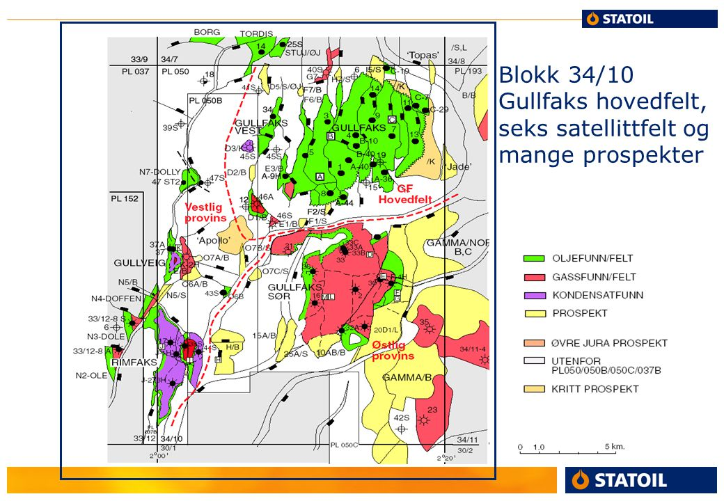 Blokk 34/10 Gullfaks hovedfelt, seks satellittfelt og mange prospekter