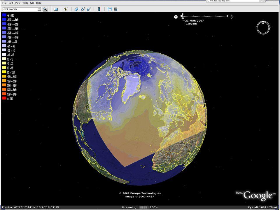Ser data fra Hirlam 20 Tidslinja øverst. Markøren kan representere tidsrom for å dermed vise akkumulerte hendelser.