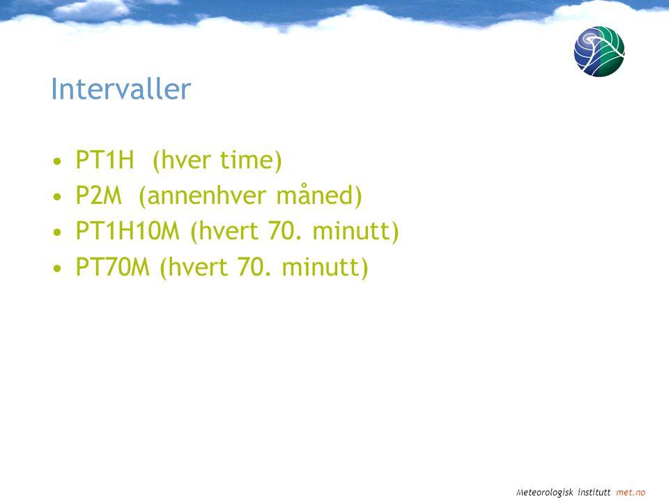 Intervaller PT1H (hver time) P2M (annenhver måned)