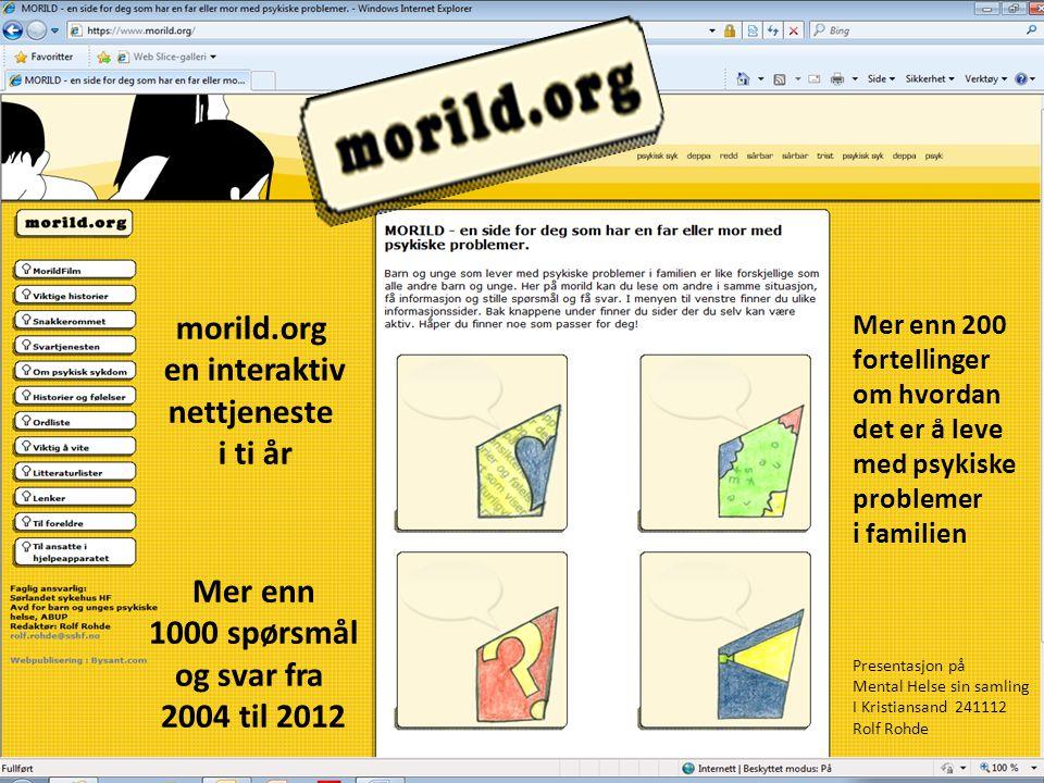morild.org en interaktiv nettjeneste i ti år Mer enn 1000 spørsmål