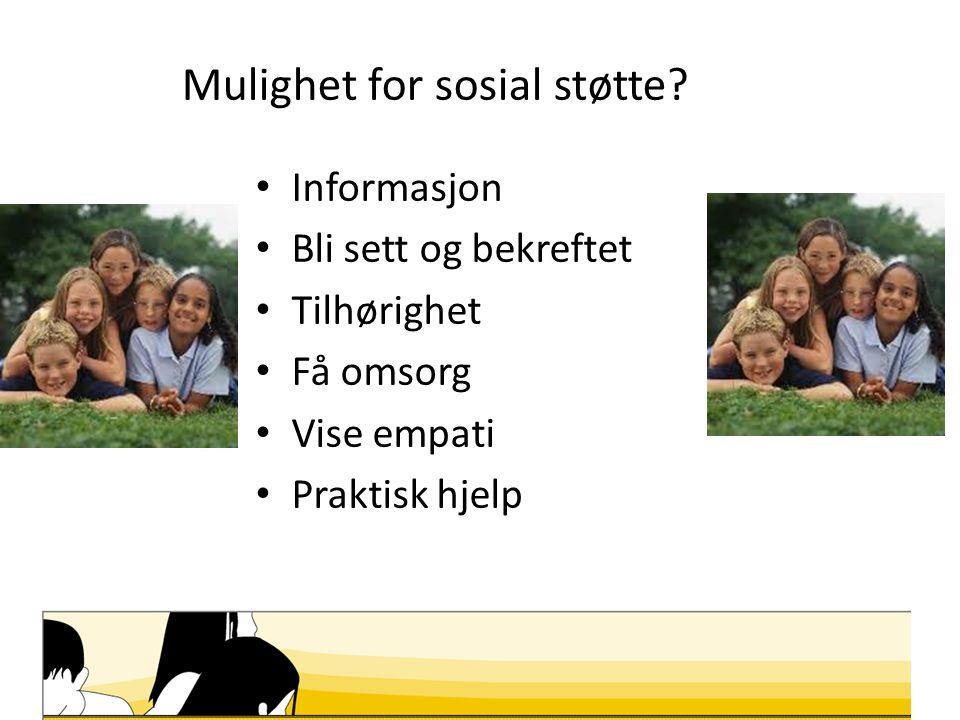 Mulighet for sosial støtte