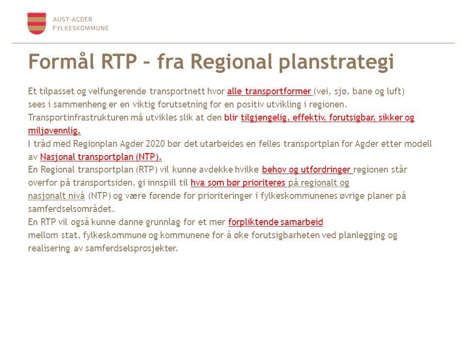 Formål RTP – fra Regional planstrategi