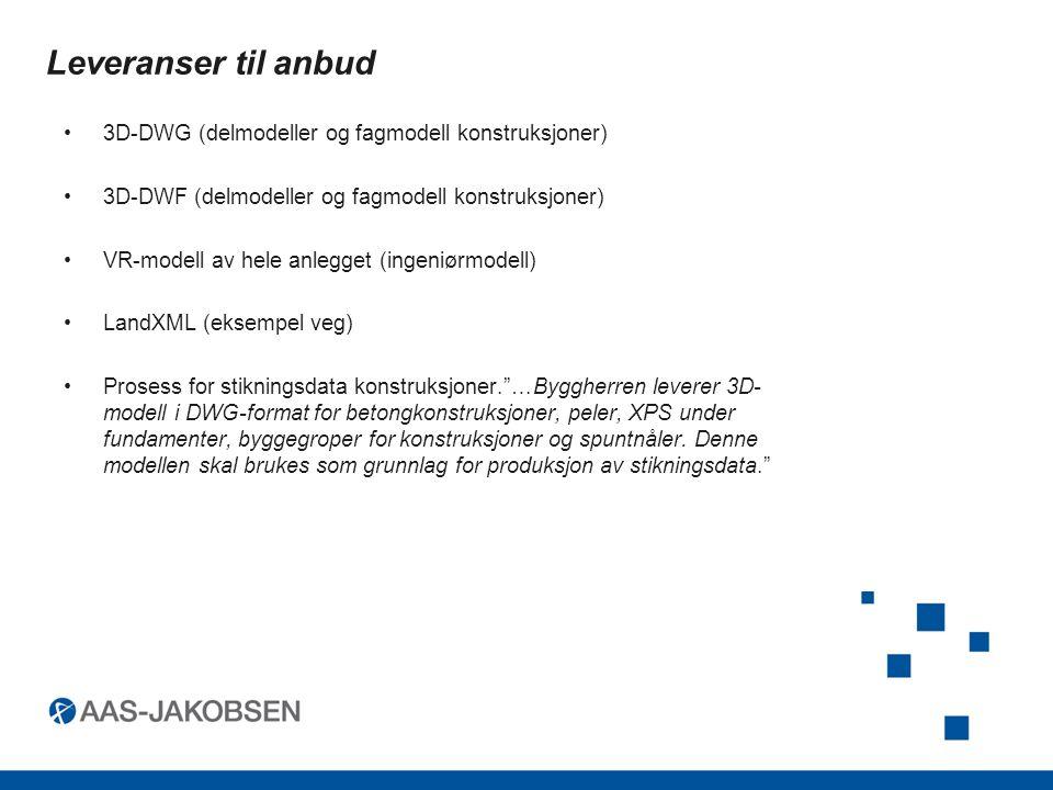 Leveranser til anbud 3D-DWG (delmodeller og fagmodell konstruksjoner)