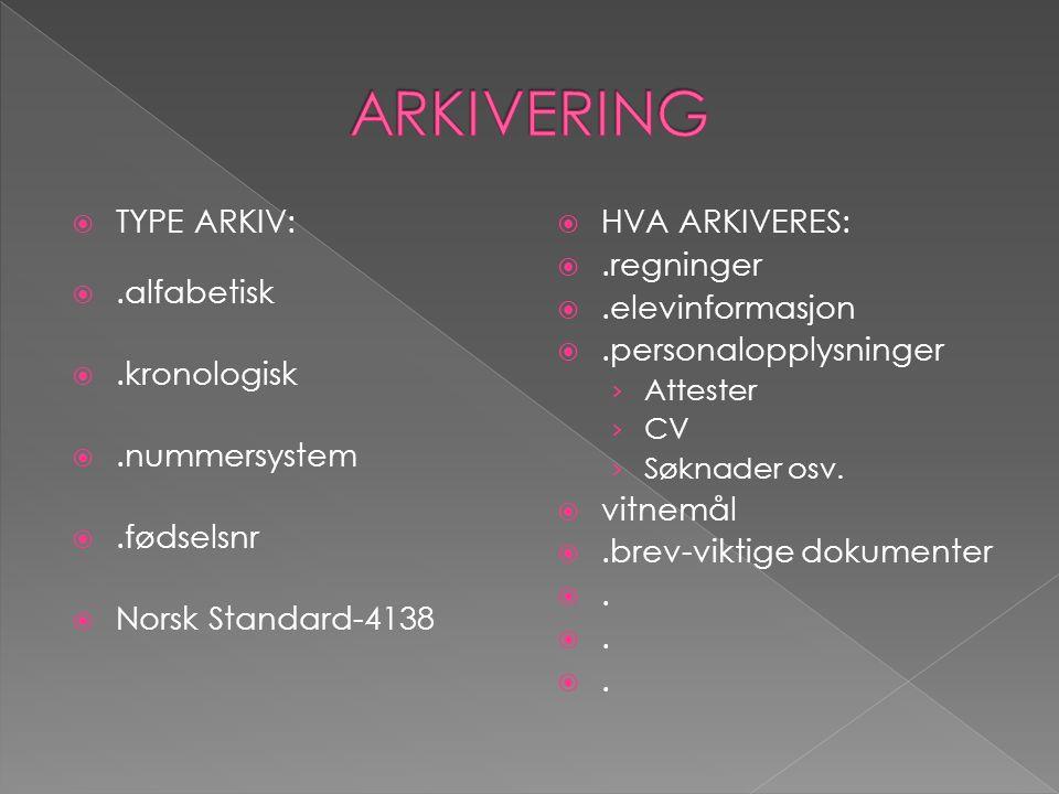 ARKIVERING TYPE ARKIV: .alfabetisk .kronologisk .nummersystem