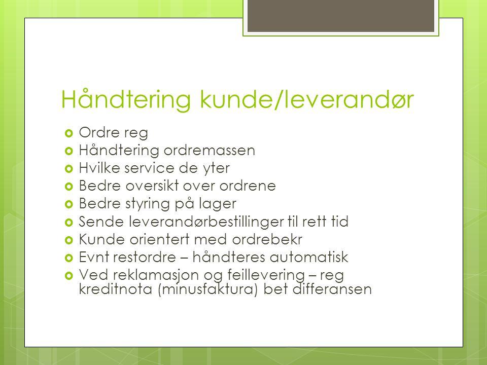 Håndtering kunde/leverandør