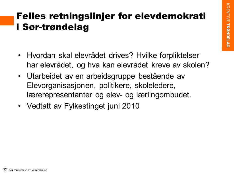 Felles retningslinjer for elevdemokrati i Sør-trøndelag