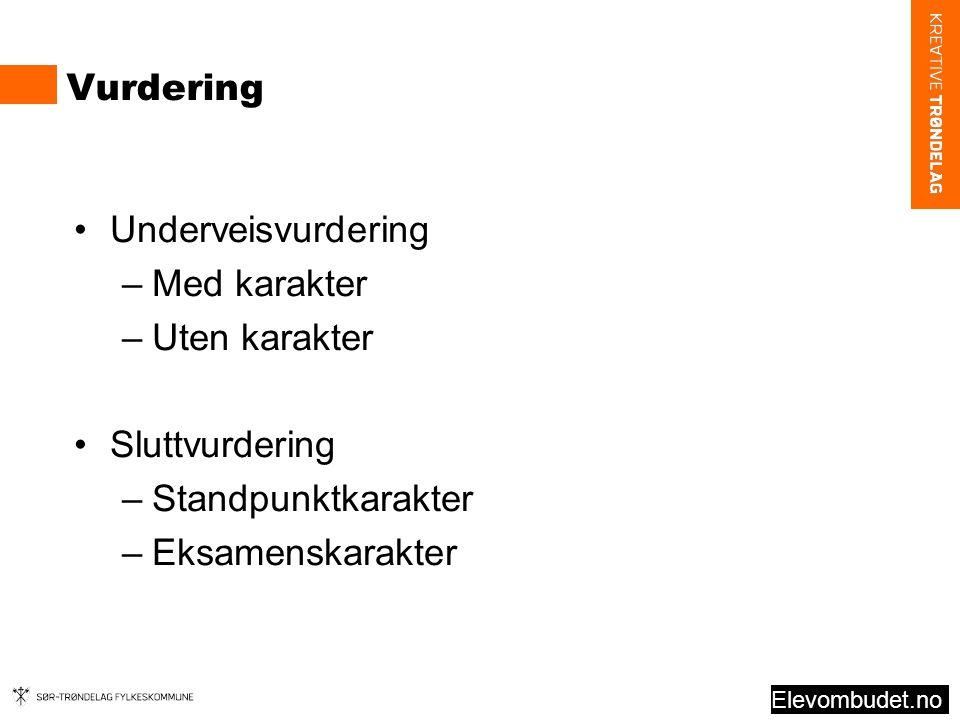 Vurdering Underveisvurdering Med karakter Uten karakter Sluttvurdering