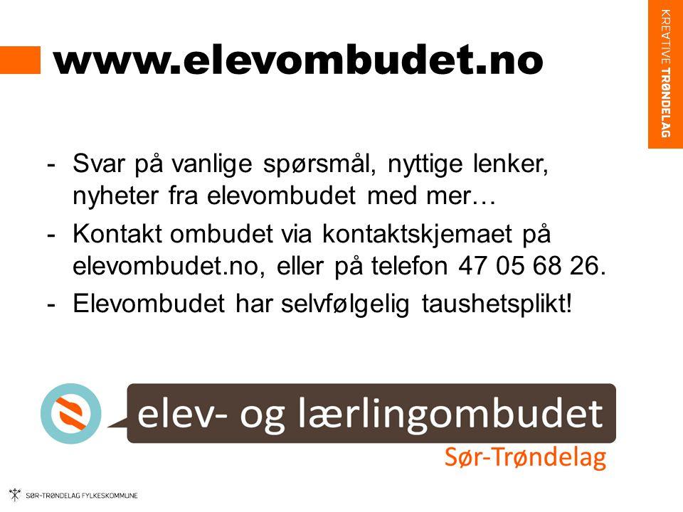 www.elevombudet.no Svar på vanlige spørsmål, nyttige lenker, nyheter fra elevombudet med mer…