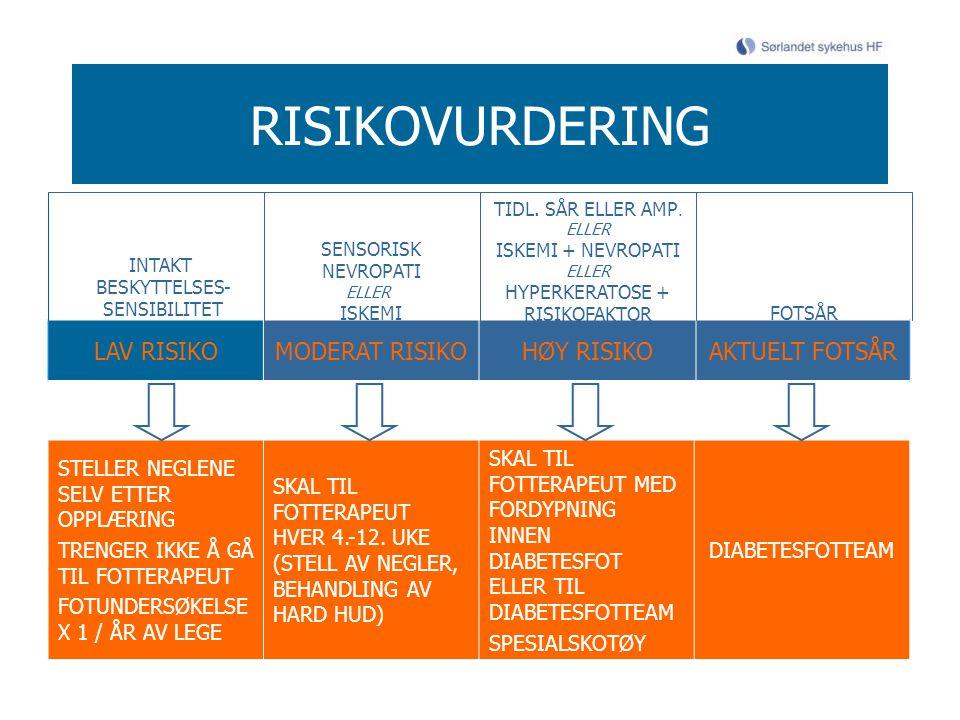 RISIKOVURDERING LAV RISIKO MODERAT RISIKO HØY RISIKO AKTUELT FOTSÅR