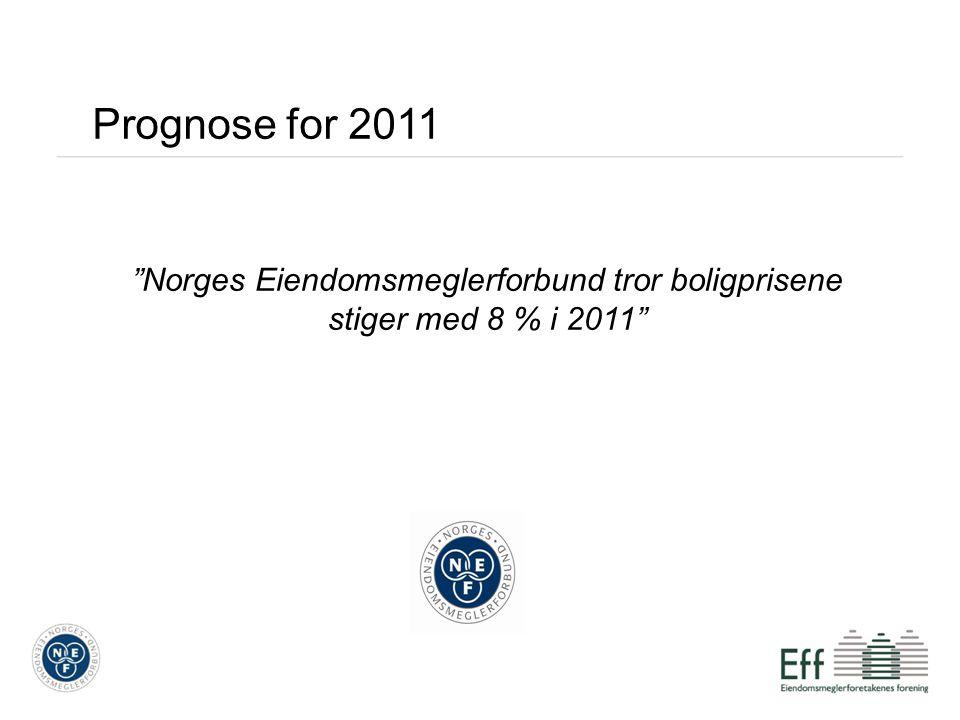 Norges Eiendomsmeglerforbund tror boligprisene stiger med 8 % i 2011