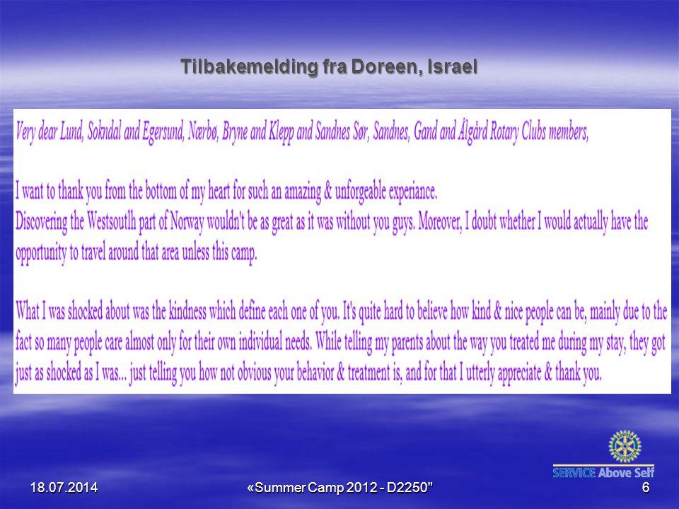 Tilbakemelding fra Doreen, Israel