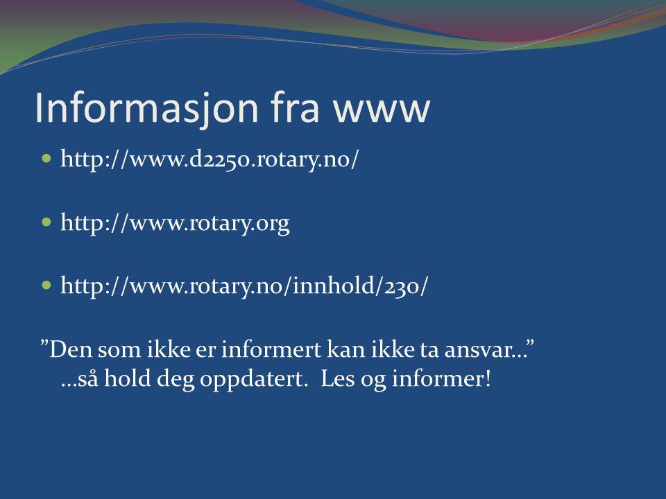 Informasjon fra www http://www.d2250.rotary.no/ http://www.rotary.org