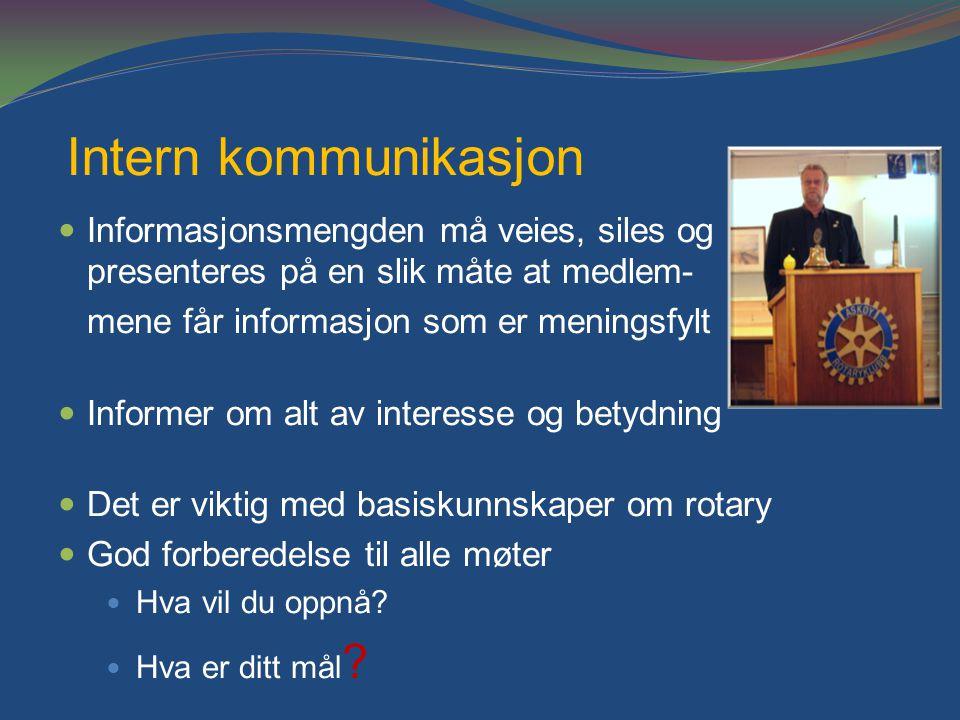 Intern kommunikasjon Informasjonsmengden må veies, siles og presenteres på en slik måte at medlem- mene får informasjon som er meningsfylt.