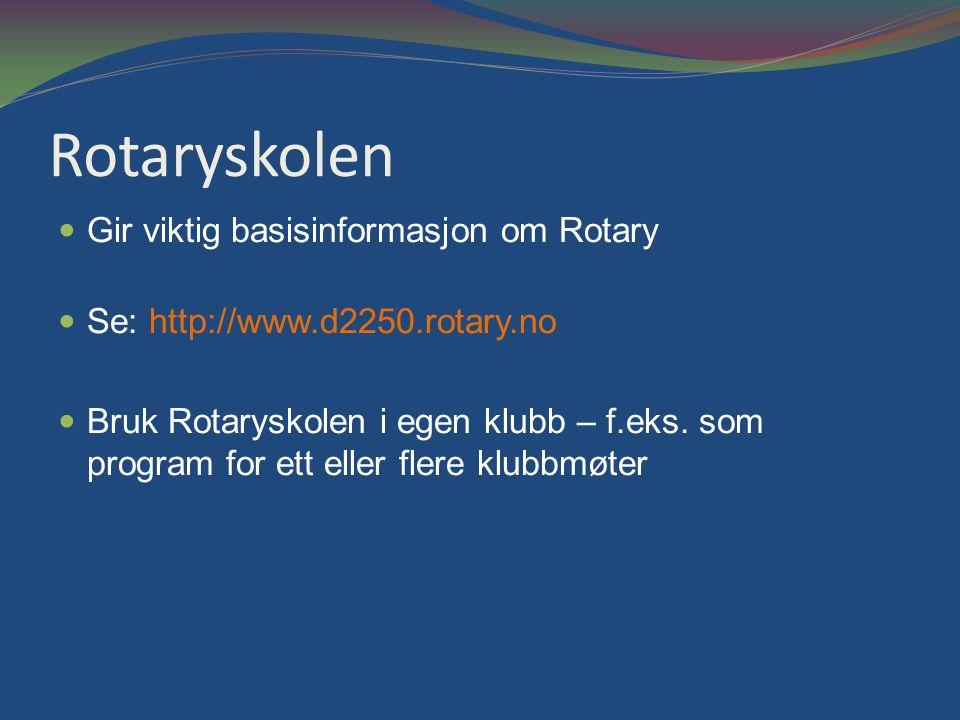 Rotaryskolen Gir viktig basisinformasjon om Rotary