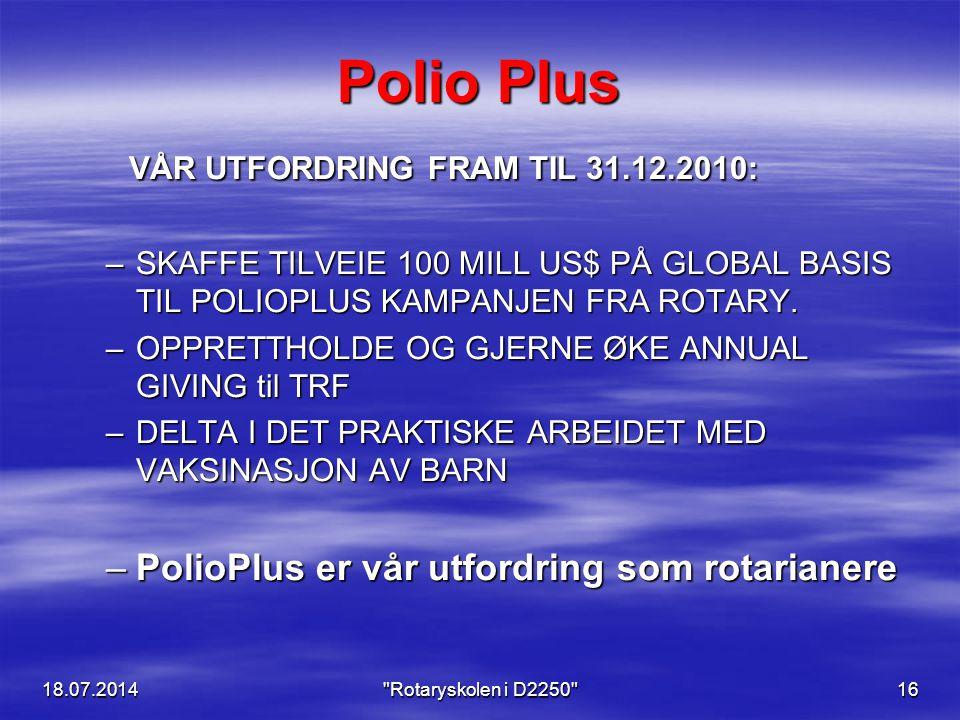 Polio Plus VÅR UTFORDRING FRAM TIL 31.12.2010: