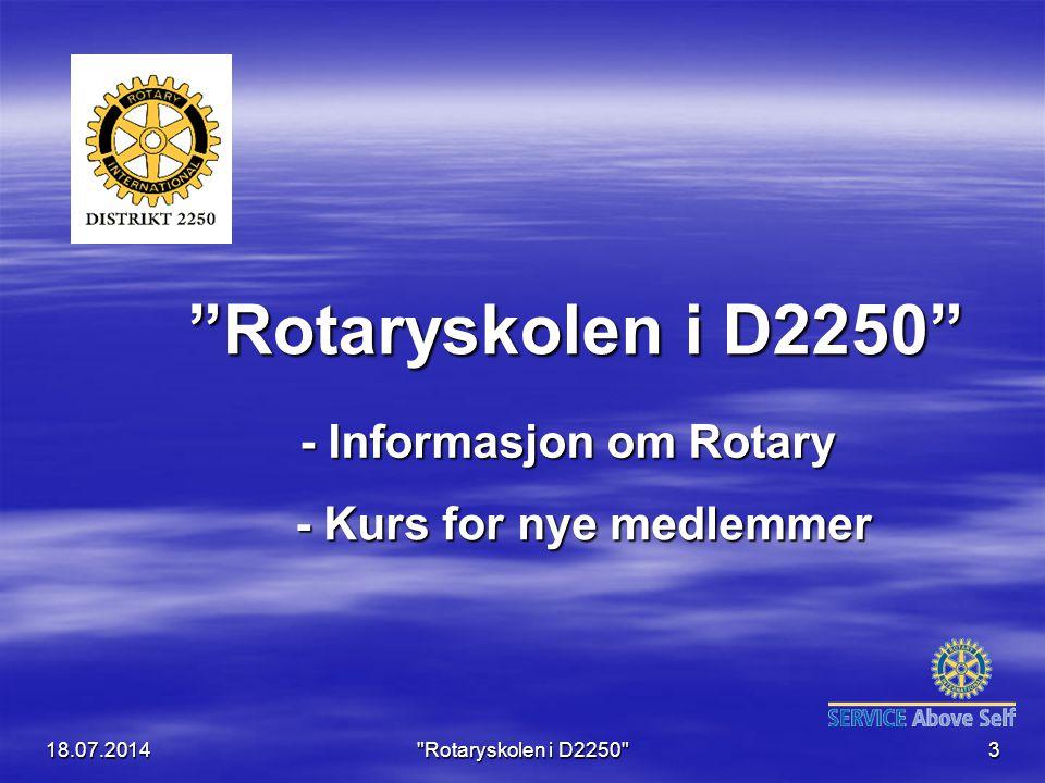 - Informasjon om Rotary - Kurs for nye medlemmer