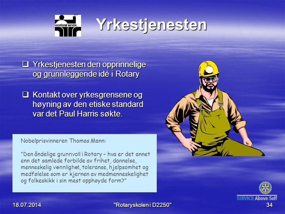 Yrkestjenesten Yrkestjenesten den opprinnelige og grunnleggende idé i Rotary.