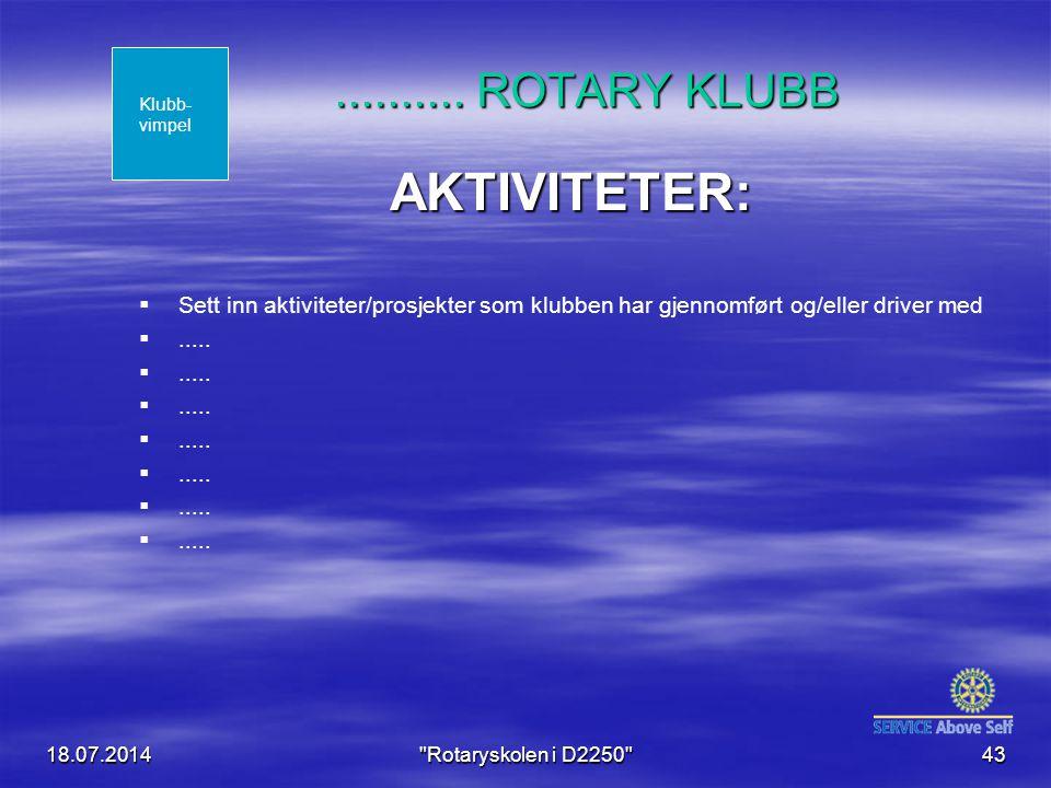 AKTIVITETER: .......... ROTARY KLUBB