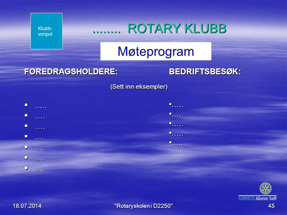 ........ ROTARY KLUBB Møteprogram BEDRIFTSBESØK: FOREDRAGSHOLDERE: