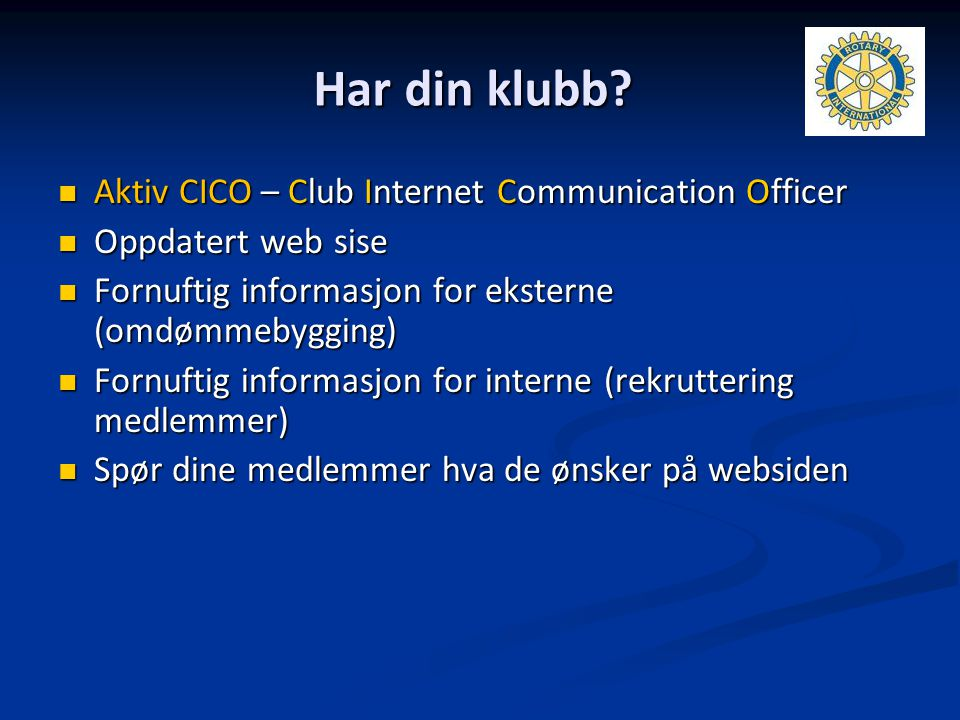 Har din klubb Aktiv CICO – Club Internet Communication Officer