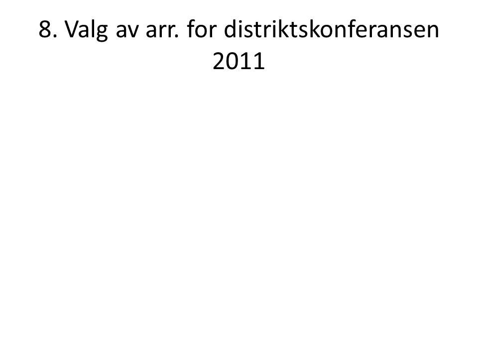 8. Valg av arr. for distriktskonferansen 2011