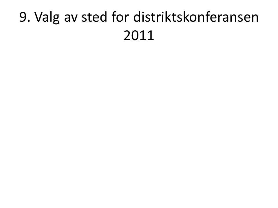 9. Valg av sted for distriktskonferansen 2011