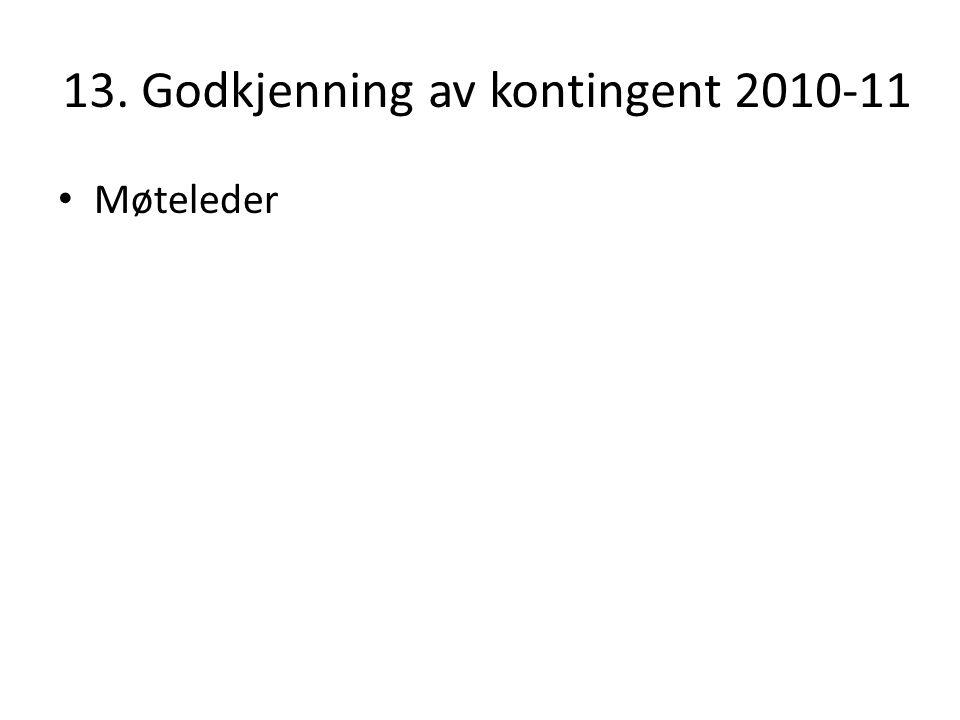 13. Godkjenning av kontingent 2010-11