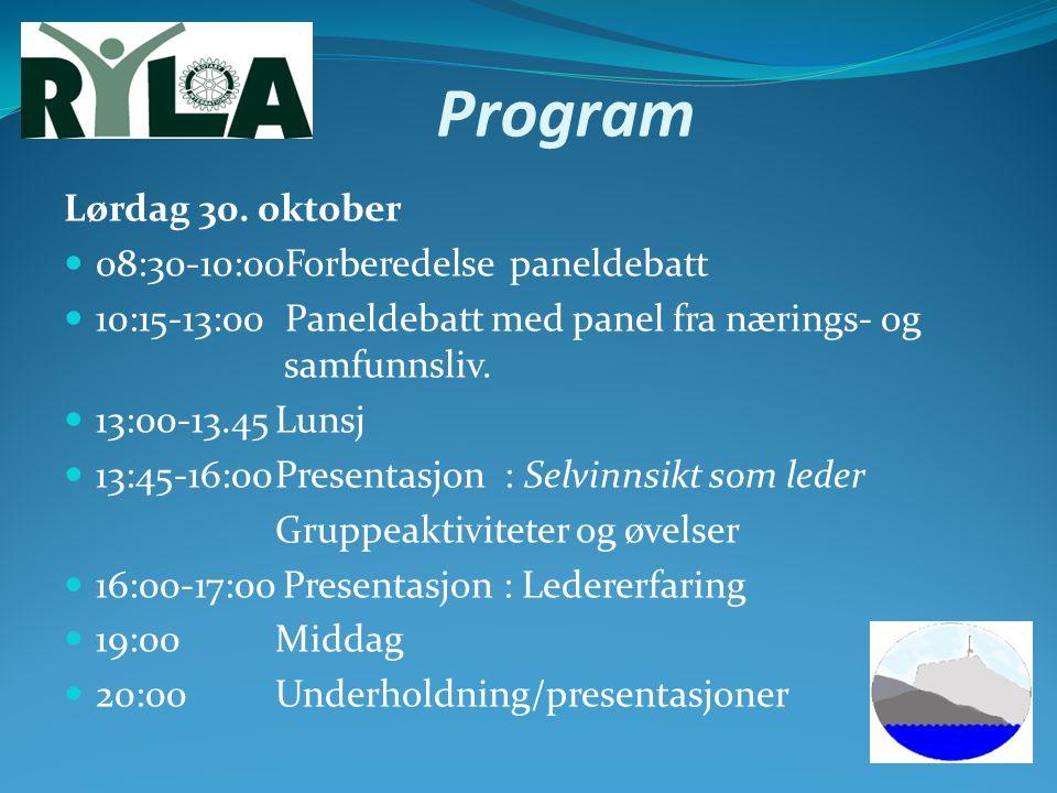 Program Lørdag 30. oktober 08:30-10:00Forberedelse paneldebatt