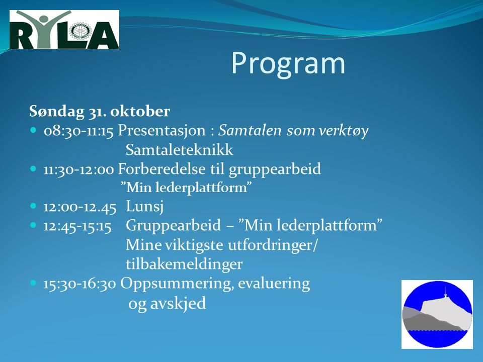 Program Søndag 31. oktober