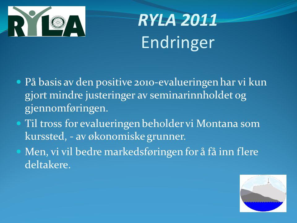 RYLA 2011 Endringer På basis av den positive 2010-evalueringen har vi kun gjort mindre justeringer av seminarinnholdet og gjennomføringen.