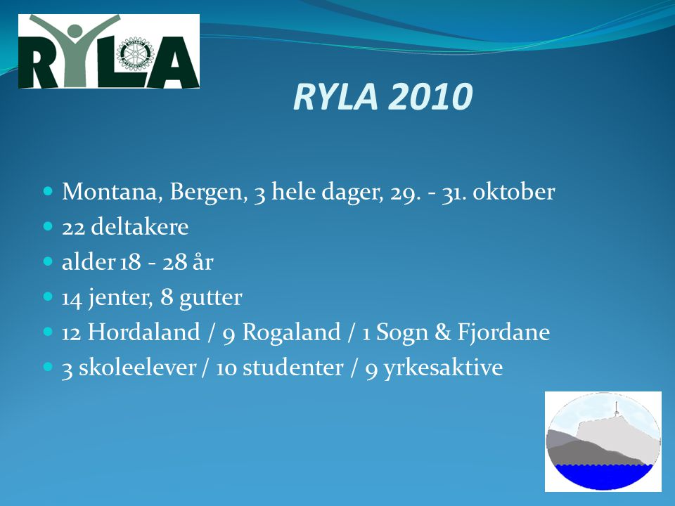 RYLA 2010 Montana, Bergen, 3 hele dager, 29. - 31. oktober