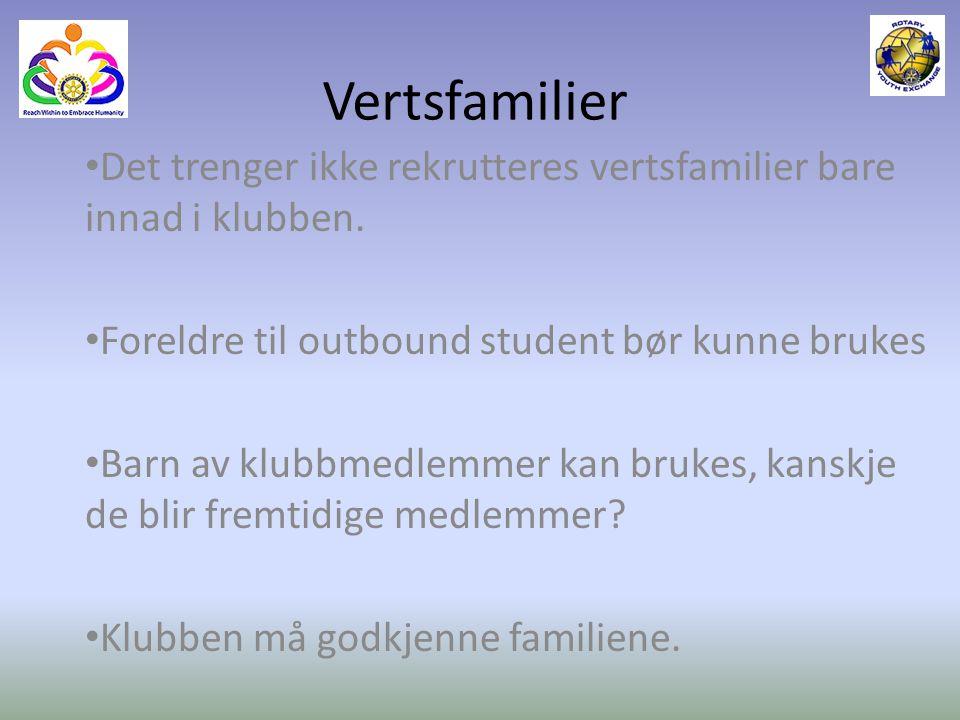 Vertsfamilier Det trenger ikke rekrutteres vertsfamilier bare innad i klubben. Foreldre til outbound student bør kunne brukes.