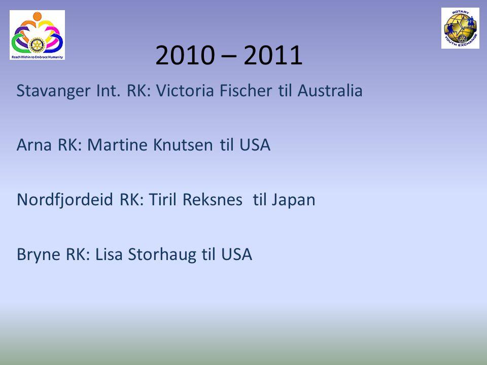 2010 – 2011 Stavanger Int. RK: Victoria Fischer til Australia
