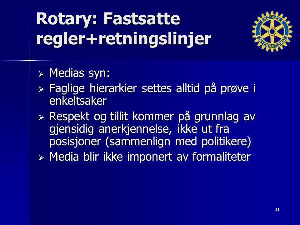 Rotary: Fastsatte regler+retningslinjer