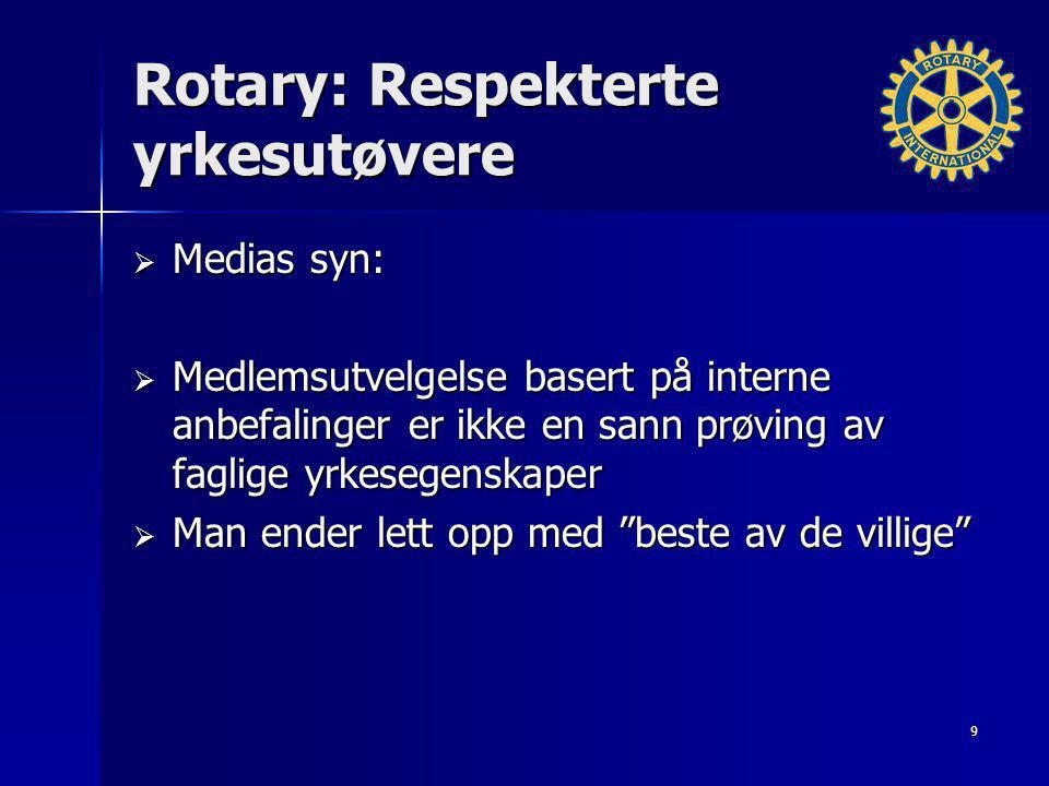 Rotary: Respekterte yrkesutøvere