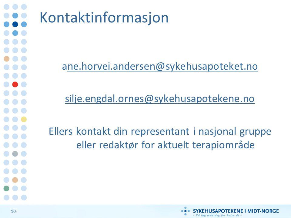Kontaktinformasjon ane.horvei.andersen@sykehusapoteket.no