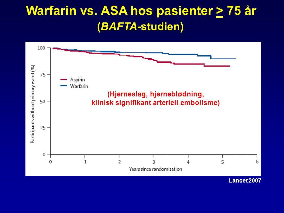 Warfarin vs. ASA hos pasienter > 75 år
